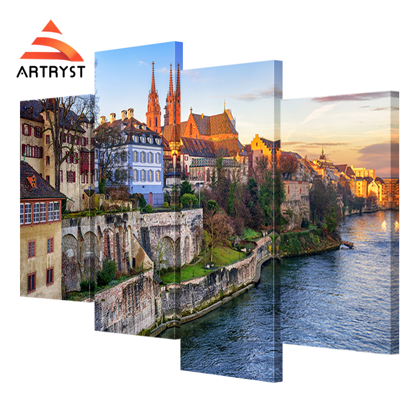 Artryst 4 Stcke Von Moderne Wohnkultur Landschaft Leinwand Malerei Basel Stadtbild Druck Auf Fr Wohnzimmer