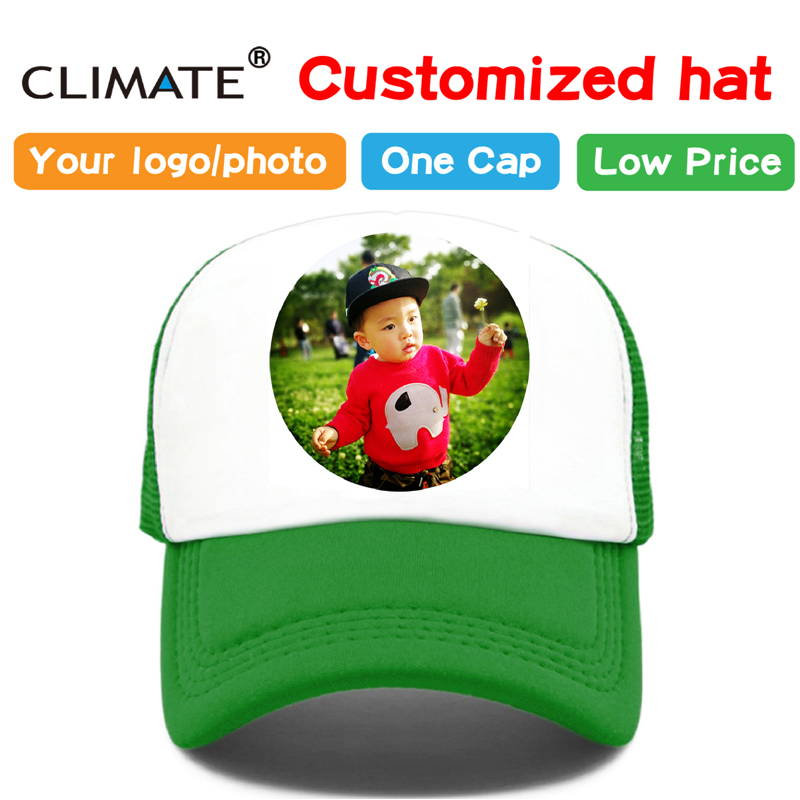 KLIMA Foto DIY Angepasst Druck Baseball Trucker Cap Hut Erwachsenen Kind Kinder Junge Mädchen Name Wärme Druck Anpassen Kappen Hut