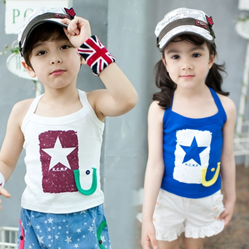 2013Wholesale Hot Selling Boys and Girls Cotton Sleeveless Stars H Vests Children Wear Blue White 2Colors 5Pcs/Lot Free Shipping
