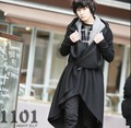 new 2017 men's fashion hot hooded punk style trench outerwear coat