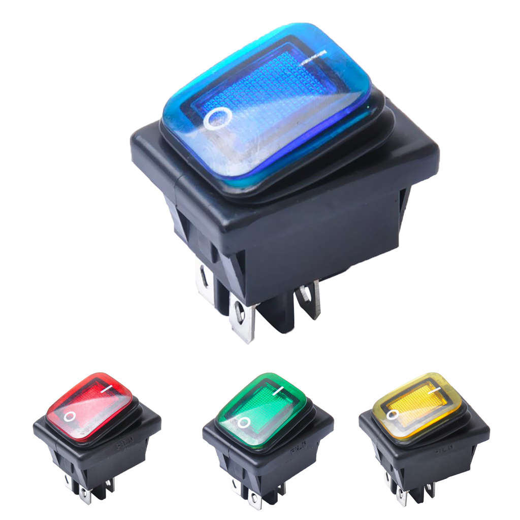 4 Pin On/Off Boat Caravan Rocker Switch ON-OFF 2 Position Electrical equipment With Light Power Switch Dashboard Parts