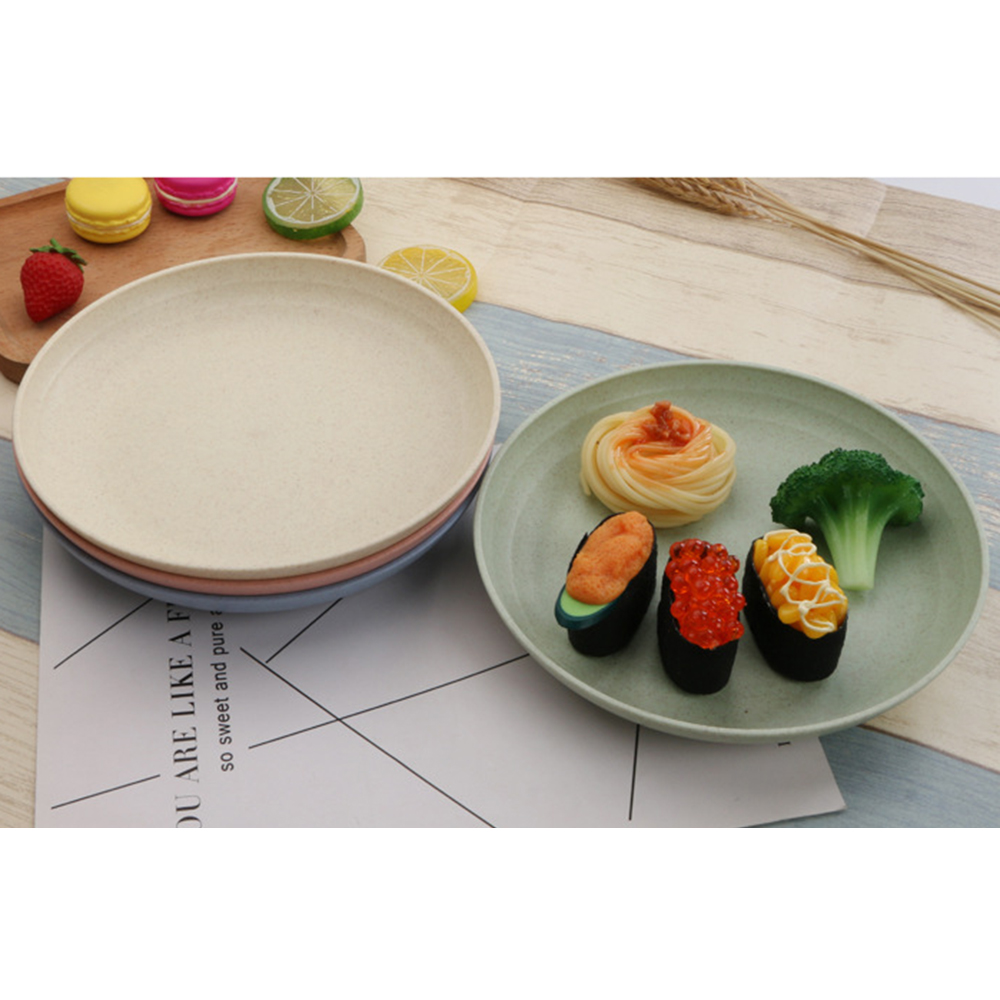 2019 Hot Solid Color Eco Food Snack Dish Plate Wheat Straw Lunch Dinner Dessert Fruit Plate Tray