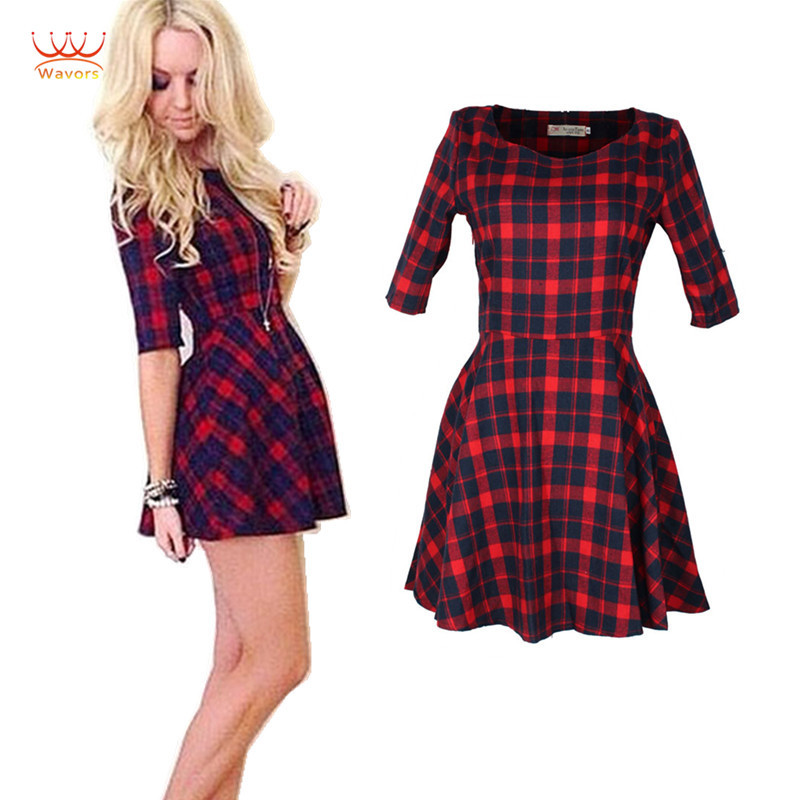 Popular Red Plaid Dress-Buy Cheap Red Plaid Dress lots from China ...