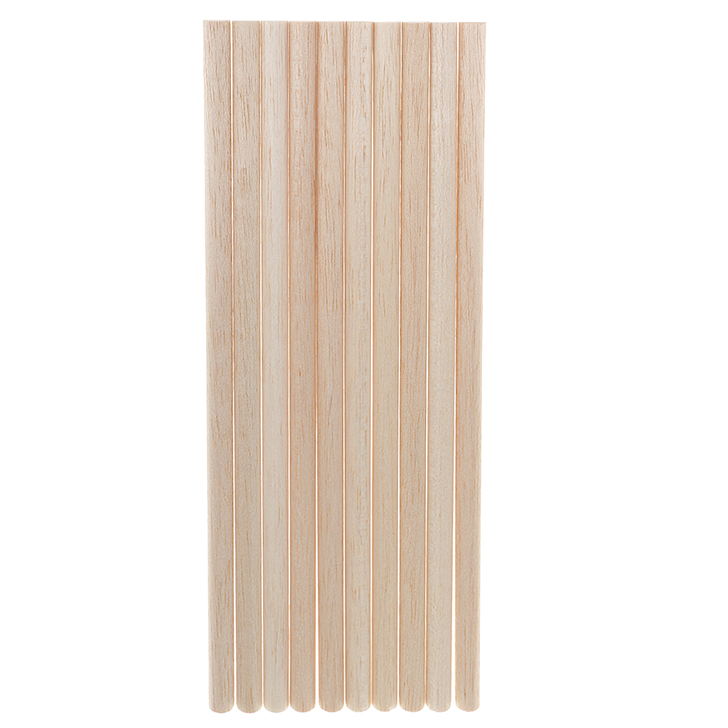 Unfinished wood craft pieces - 10 Pieces Balsa Wood Unfinished Wood Craft Semi Circle Stick Dowel Rod 11mm