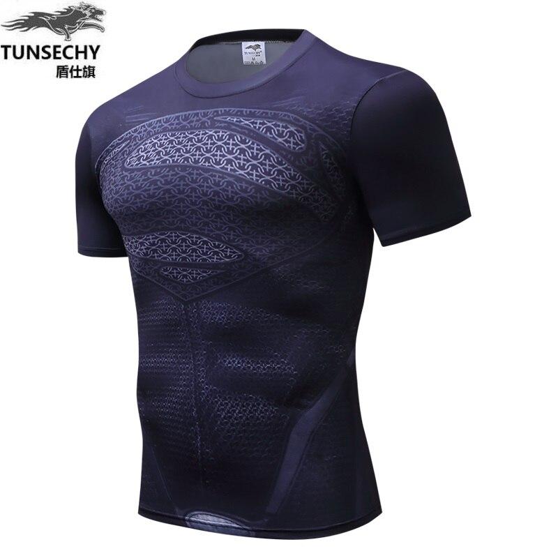 New miracle fitness T-shirt thin T-shirt man superhero spider-man clothes iron man  shirt Star Wars fashion leisure clothing