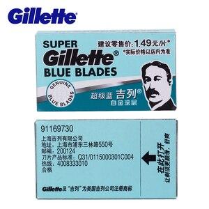 Image 3 - Gillette süper mavi tıraş bıçağı bıçakları erkekler için paslanmaz çelik 5 bıçakları x 20 kutuları çift kenarlı tıraş bıçakları kafaları