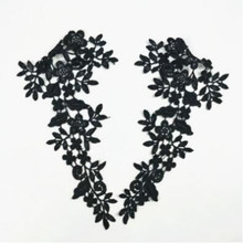 2pcs/lot Black Lace Applique Collar Neckline Diy Craft Sewing Accessories