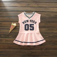 New Baby Girls Summer Cotton Letter Sports Dresses Princess Kids Casual Wear 5 Pcs Lot Wholesale