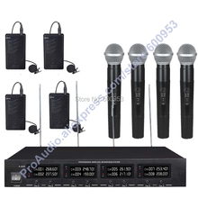 MICWL 2018-4H4V High-End Cordless Wireless Karaoke Microphones System 4 Handheld & 4 Lavalier high end uhf 8x50 channel goose neck desk wireless conference microphones system for meeting room