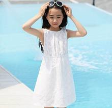 2016 Summer New Girl Dress White Lace Beach Sundress Family Matching Outfits Children Clothing 4-12T B001