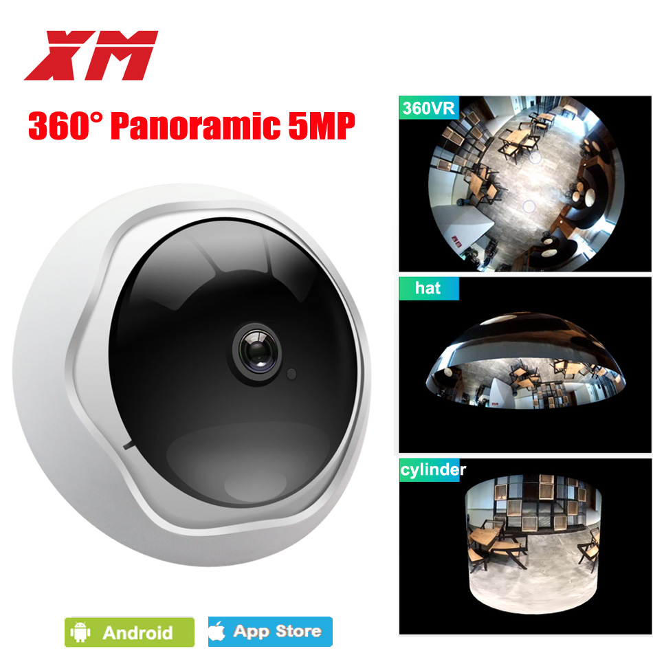 5MP 360 Degrés Panoramique Fisheye Caméra IP multi-usages Nocturne Wifi Veresion caméra APP Télécommande Sans Fil P2P web IP XM