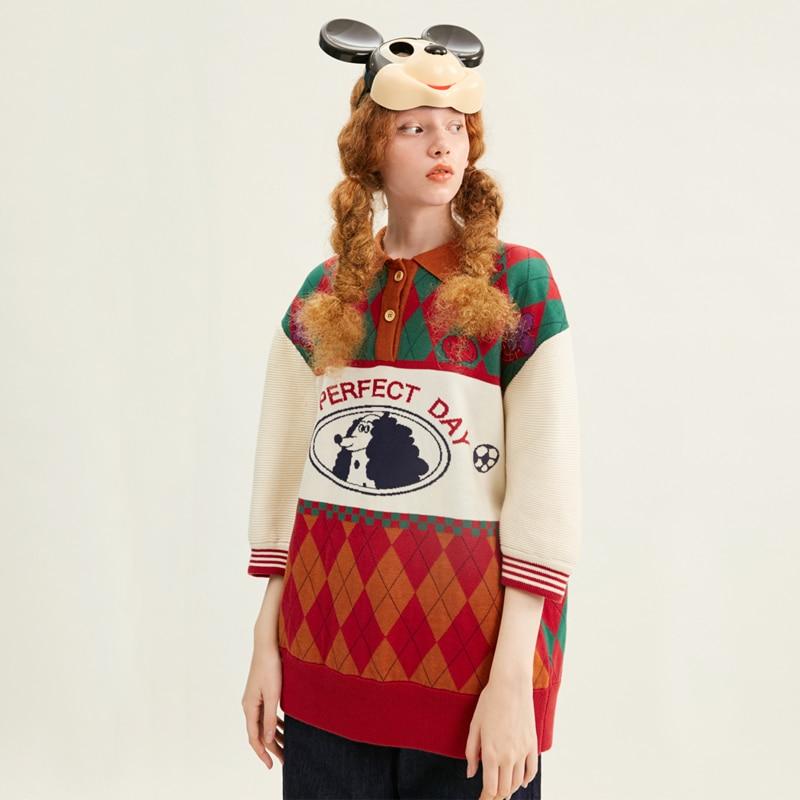 New Design Women Pullver Sweater Diamond Lattice Green Red Color Block Half Sleeve Ladies Loose Knitted