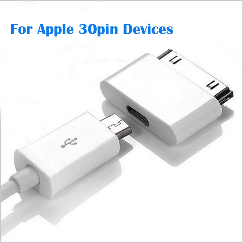 1pcs 30pin to Micro V8 Connector Dock Charger Adapter Converter For Apple iPhone 4 4S IPAD 3 iPod Touch 4,Free Shipping W/ No. dock connector to usb cable