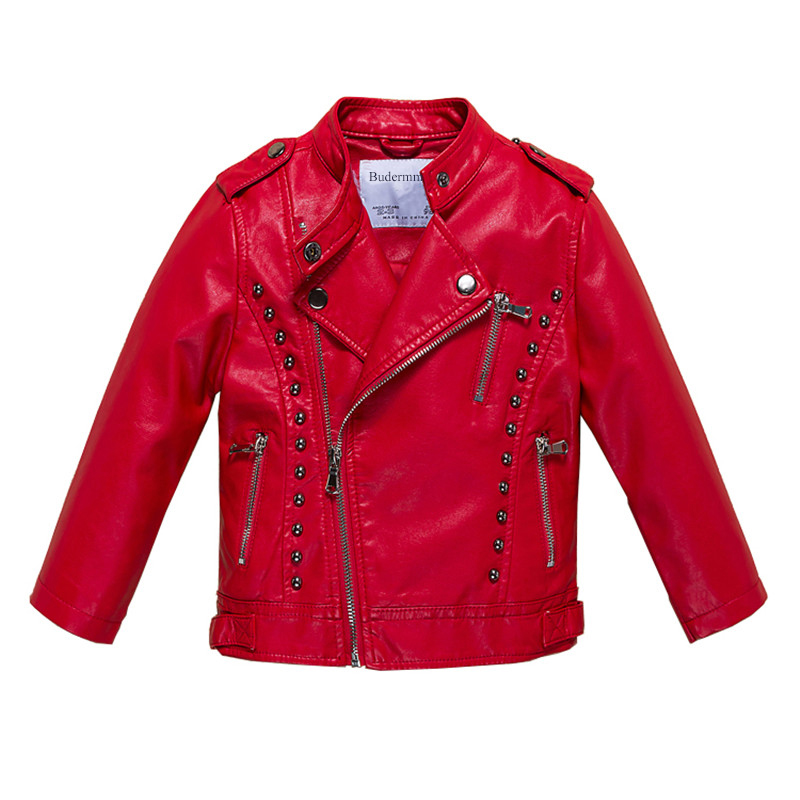 Jackets for Girls and Boys Solid Black Pink Red PU Leather Jackets ...