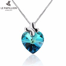 LEPAPILLION Women Necklace Fine Jewelry Blue Heart Crystal Grass Pendant Necklace Choker Collares Jewelry Gift For Female