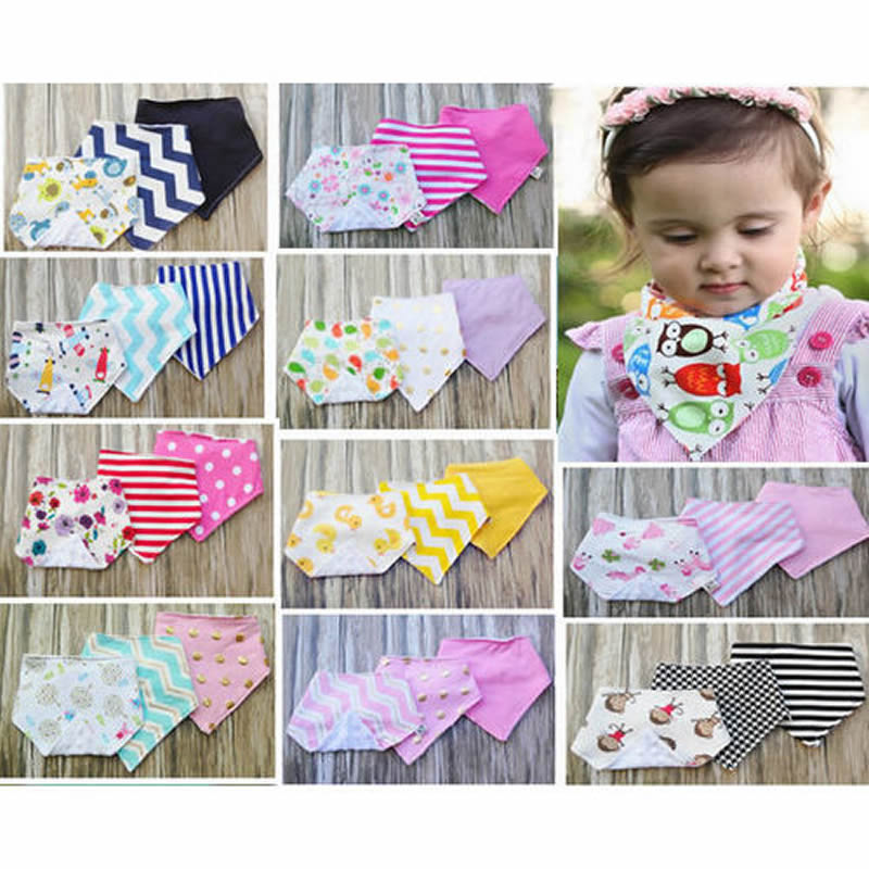Hot 3Pcs Infant Kids Baby Unisex Feeding Saliva Towel Dribble Triangle Bandana Bibs
