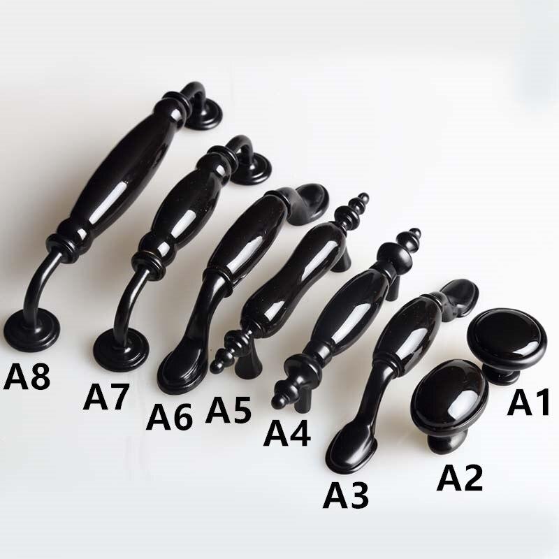 "3"" 5"" 6.3"" 3.75"" Vintage black dresser kitchen cabinet handles knobs bright black ceramic drawer knob pull 128mm 76mm 160mm 96mm"