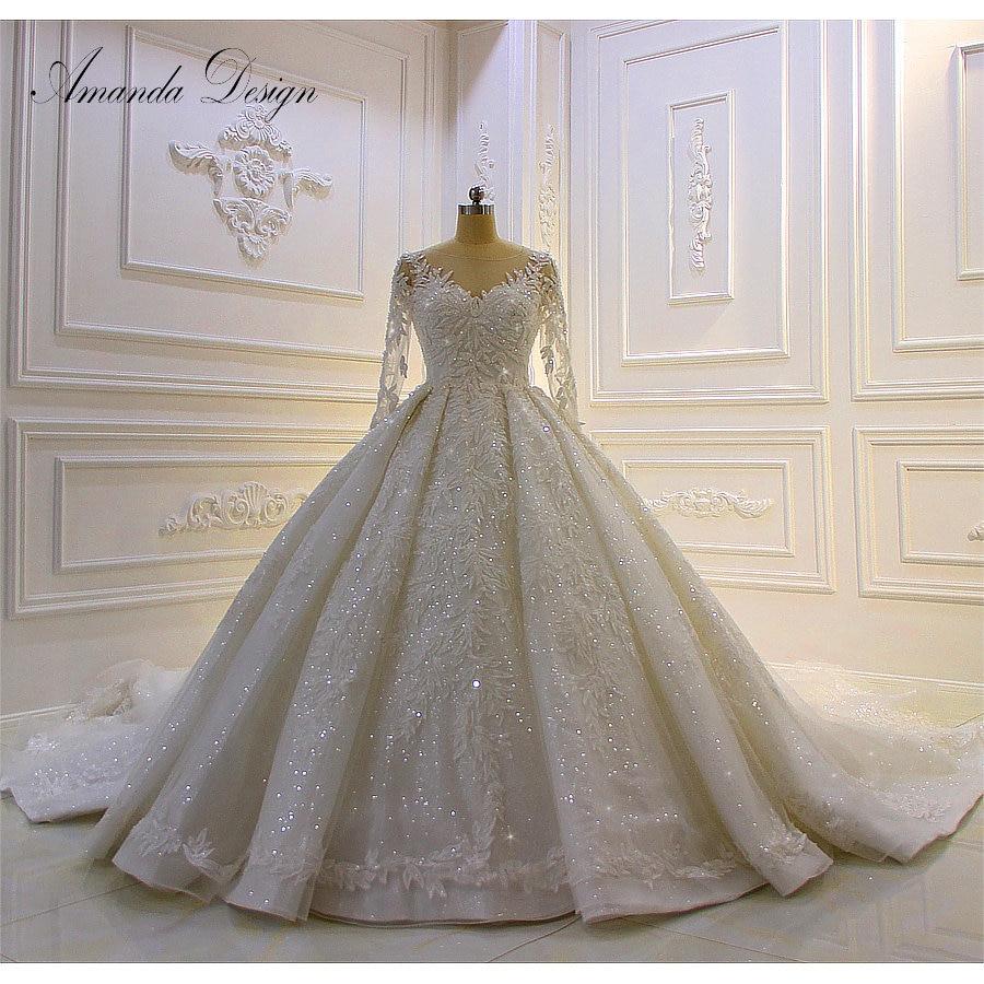 Amanda Design bestidos de novia Long Sleeve Lace Applique Patterns Stunning Wedding Dress Luxury