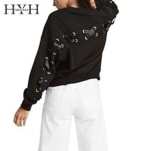 HYH HAOYIHUI Women O-neck Sweatshirts Solid Back Cross Lacing Long Sleeve  Preppy Loose Autumn Tops for Femal