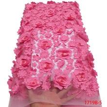 אופנה אפריקאית תחרת בד באיכות גבוהה 3D פרח בד רקמת עם חרוזים צרפתית טול נטו תחרה לחתונה שמלת APW1719B