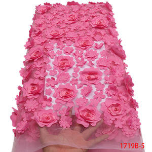Image 1 - Fashion African Lace Fabric High Quality 3D Flower Fabric Embroidery with Beads French Tulle Net Lace for Wedding Dress APW1719B