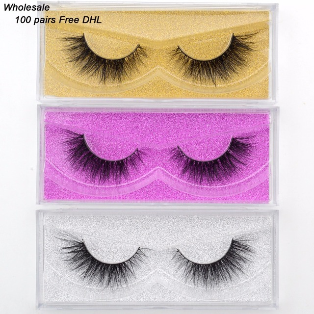 Free DHL 100pairs Visofree Eyelashes Mink False Eyelashes Handmade Mink Collection 3D Dramatic Lashes 34 Style Glitter Packaging