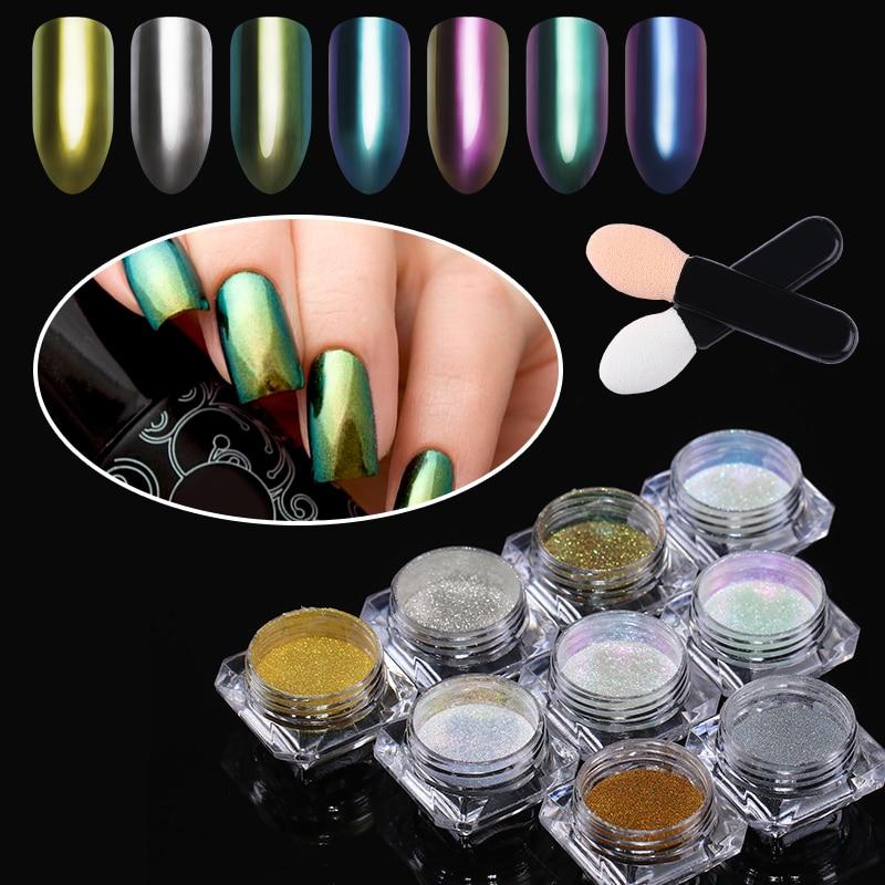 Nail Glitter Mirror Powder Holografische Chameleon Chrome Pigment - Nagel kunst - Foto 5
