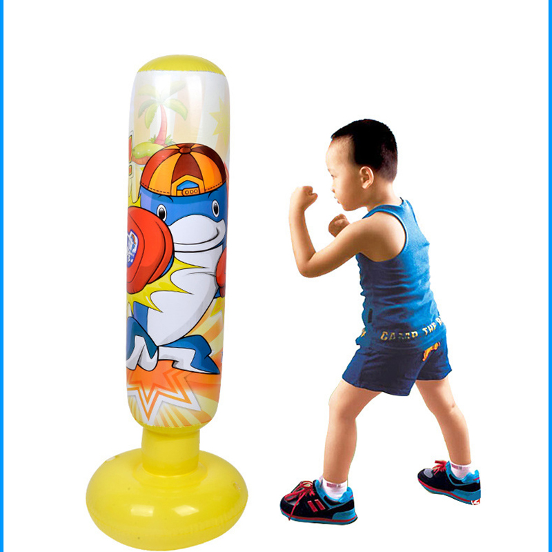 Unisex Children Tumbler Punching Bag Fitness Inflatable Kids Sandbag Home Gym Fitness Boxing Fight Training Stress Relief Toy