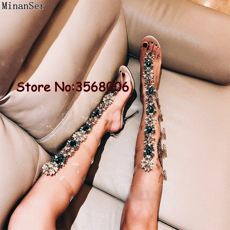 العصرية تصميم مشبك الأشرطة كريستال واضح سيدة عالية الكعب الأحذية امرأة الركبة عالية حجر الراين المصارع صندل التمهيد بوهيميا نمط-في بوت للركبة من أحذية على  مجموعة 3