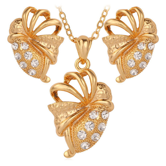 New Gold Color Austrian Rhinestone Crystal Pendant Necklace Earrings