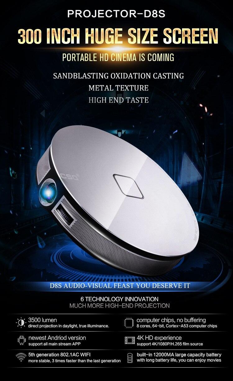 1 Stks/partij Dhl Gratis D8s Beamer Rk3368 Octa Core 2 Gb/32 Gb Android 6.0 Tv Box Functie & Smart Draagbare Dlp-projector Combo