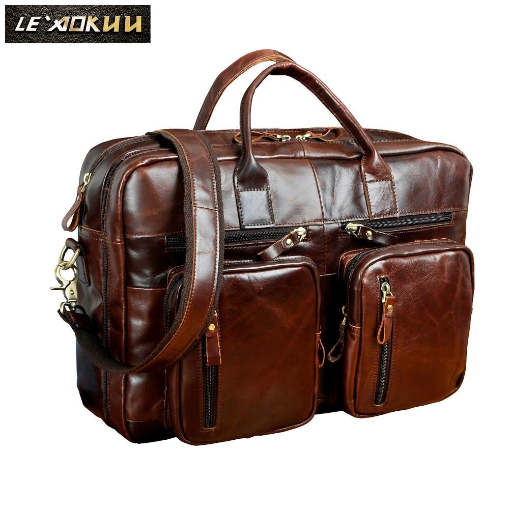 Original Leather Fashion Business Briefcase Messenger Bag Male Design Travel Laptop Document Case Tote Portfolio Bag