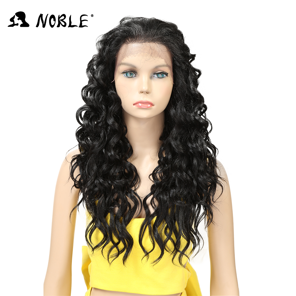 Noble Lace Front High Temperature Long Wig 24 Inch Long Curly Synthetic Wigs For Women H ...