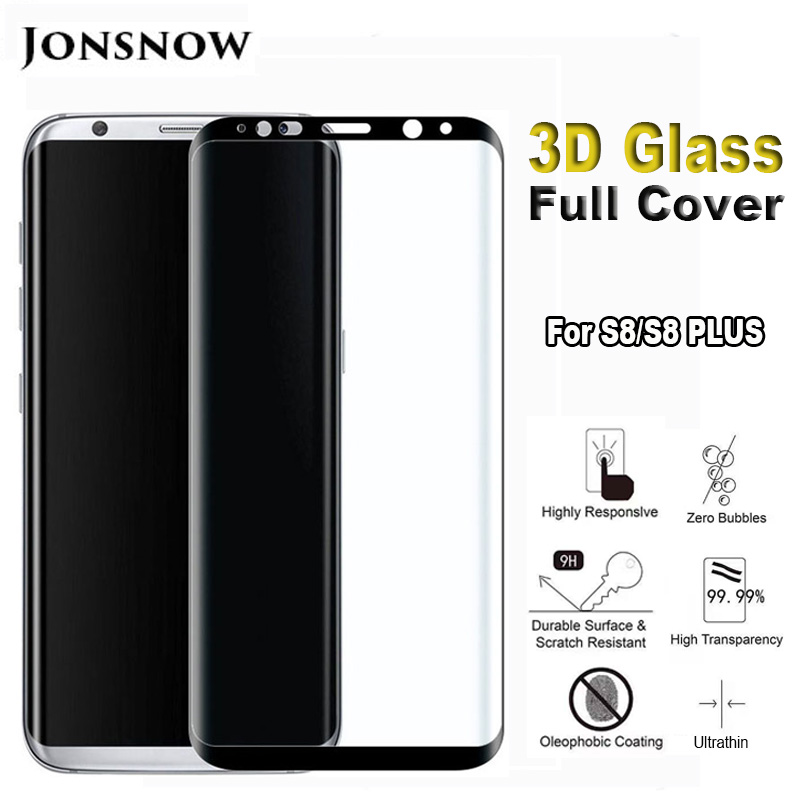 JONSNOW 3D Curved Tempered Glass for <font><b>Samsung</b></font> S8 <font><b>S9</b></font> <font><b>Plus</b></font> <font><b>Screen</b></font> Protector 9H <font><b>Protective</b></font> Hard Edge for <font><b>Samsung</b></font> Note 8 Note 9 image