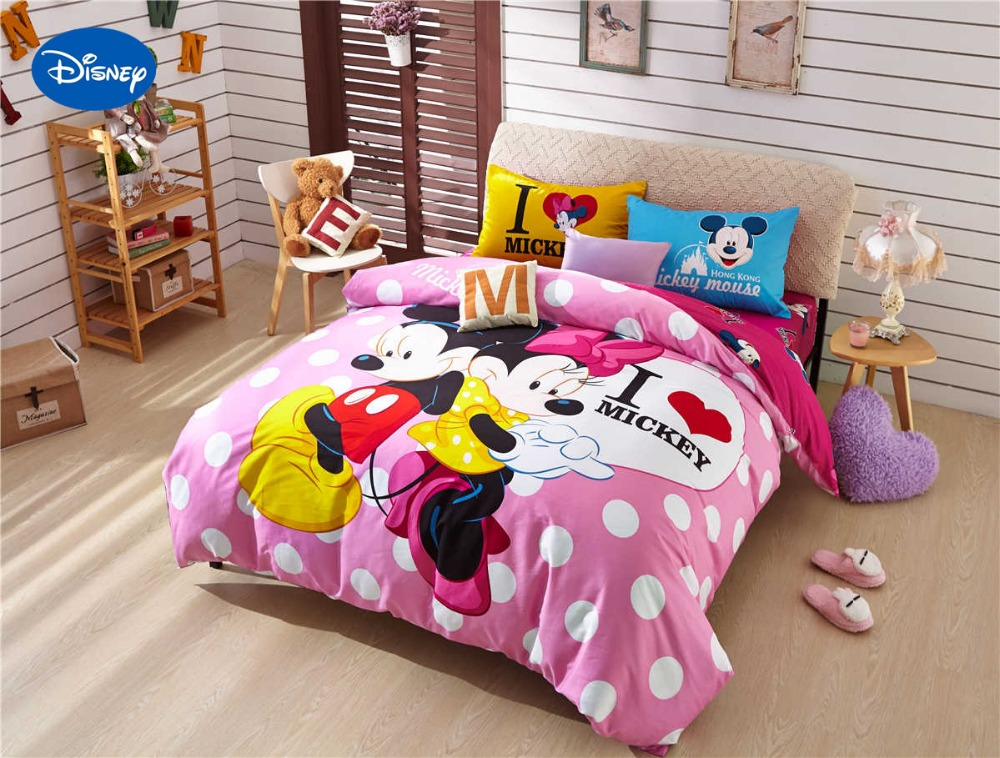 Cartoon Disney Print Bedding Set Cotton Pink Polka Dot