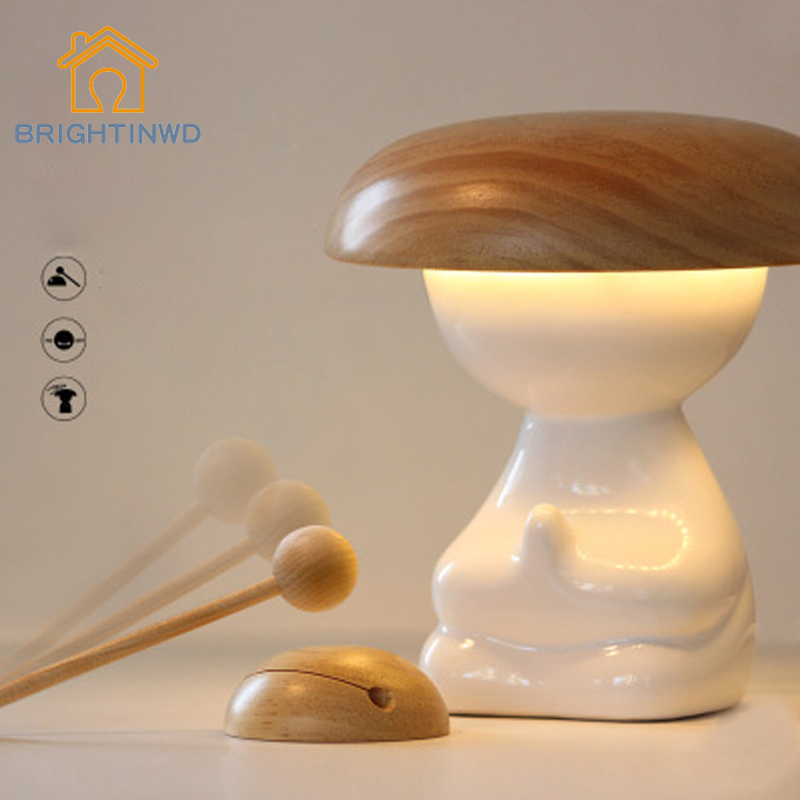 LED Table Lamp Indoor For Bedroom Creativity Intelligent Remote Control Air Purifier Light Wooden Fish Energy-saving Desk Lamps new energy saving creative small spotlight led remote control for cabinet light mirror lamp search light bed table light