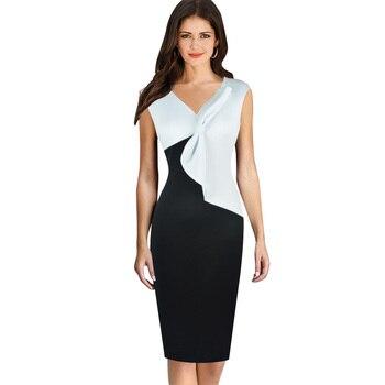 67a706da1 2016 verano mujeres vestido nueva llegada de la moda elegante lápiz Vestidos  lazo blanco negro damas casual rodilla longitud oficina vestido