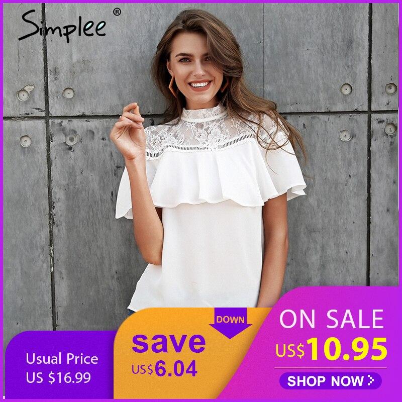Simplee Sexy white chiffon blouse shirt women