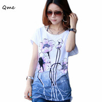 Plus Large Size Korean Fashion Women S Loose Short Sleeved Cotton Bottoming Flower T Shirt Print