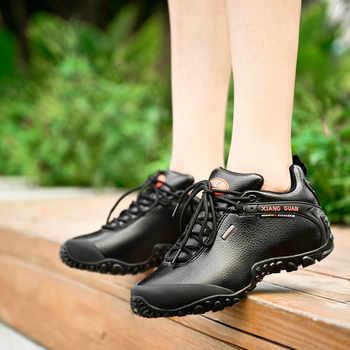 XIANG GUAN Outdoor Waterproof Hiking Shoes Men Women Genuine Leather Climbing Shoes Men Walking Shoes trekking boots 81996