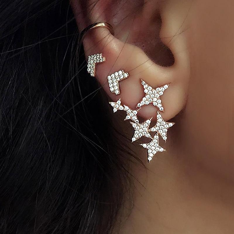 USTAR кристаллы звезда серьги гвоздики для женщин 2018 модные ювелирные изделия серьги набор женский Девушка геометрический Oorbellen вечерние аксессуары