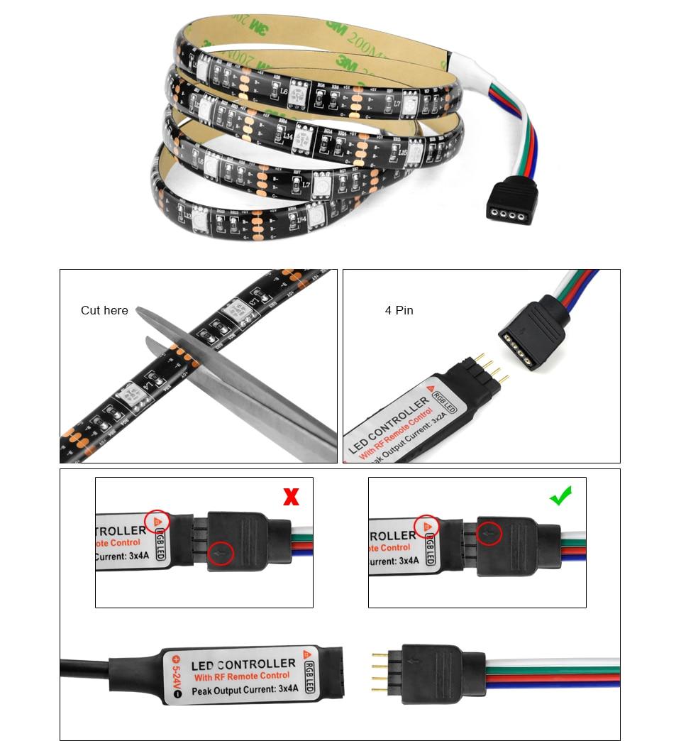 HTB13pnZnljTBKNjSZFNq6ysFXXaG - DC 5V 5050 SMD RGB USB LED strip Light Ribbon tape 1M 2M 3M 4M 5M USB charger LED lamp 3key 17key 24key RGB remote control