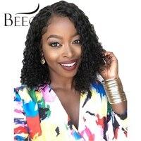Beeos 150% 13*4 Синтетические волосы на кружеве человеческих волос парики для Для женщин вьющиеся боковая часть короткие боб парик с волосами мла