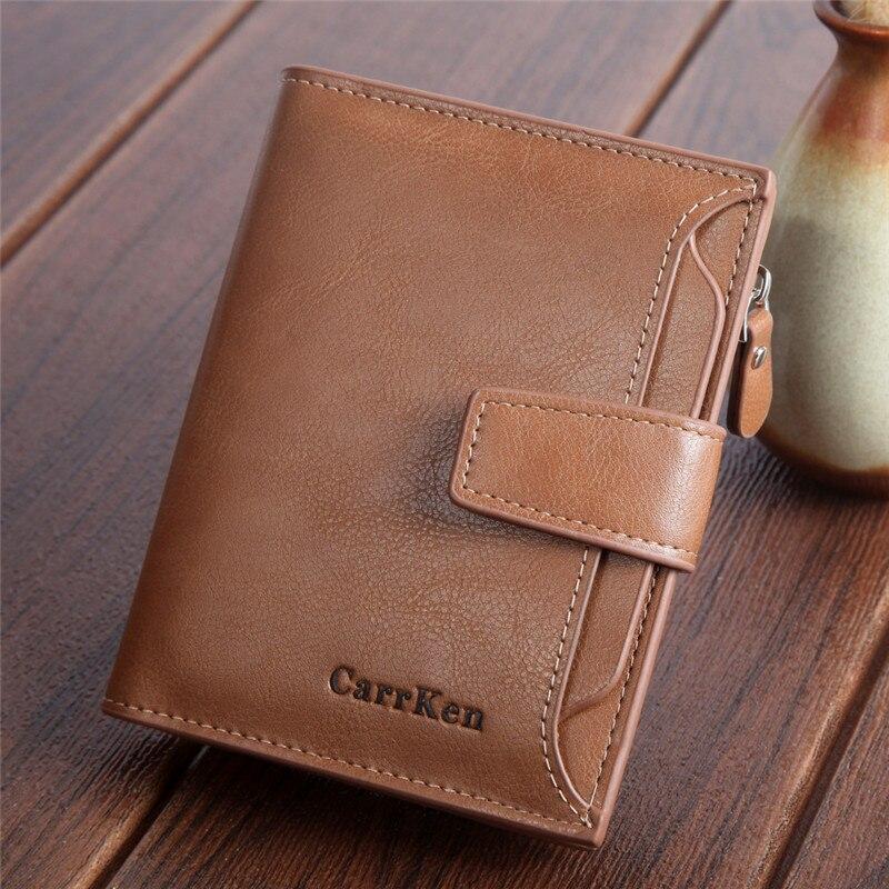 NEW Vintage Unisex Short Wallet Genuine Leather Multi-Card Bit Retro Card Holder Clutch Men's 'Wallets Purses Carteira HC216