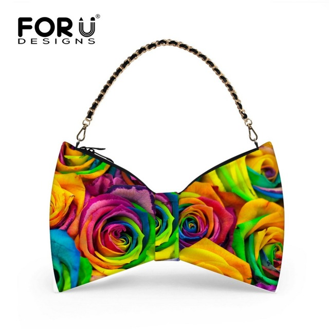 FORUDESIGNS 2016 Fashion Bag Flowers Women Handbag Popular Folding Bow Type Bags Handiness Bags 3D Print New Style bags