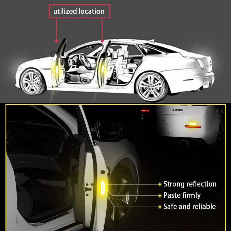4 قطعة/المجموعة سيارة مفتوحة عاكس الشريط تحذير علامة عاكسة سيارة الباب ملصقات لأودي A4 B6 A3 A6 C5 Q7 A1 A5 A7 A8 Q5 R8