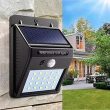 Solar Power 20 LED PIR Motion Sensor Wall Light Waterproof Outdoor Path Yard Garden Security Lamp недорого