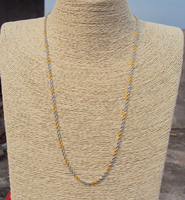 2 Mm Thin Yellow White Gold 24k Overlay Fine French Rope Twisted Necklace Chain