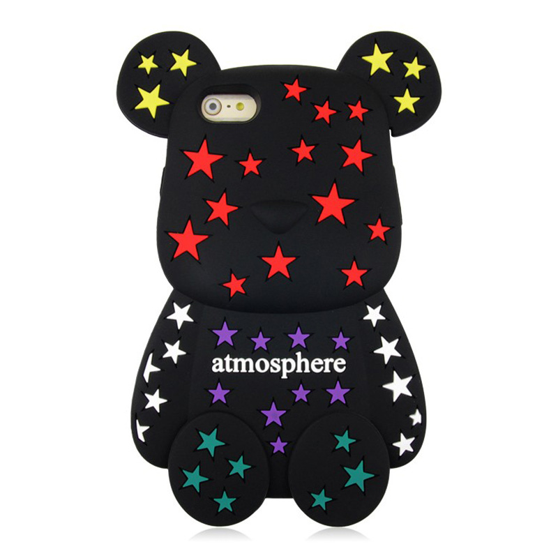 Cute Bear Phone Cases For Apple iPhone 6 case 3D Cartoon Silicone case cover 4.7 inch for iPhone6 case 6s Plus black bear