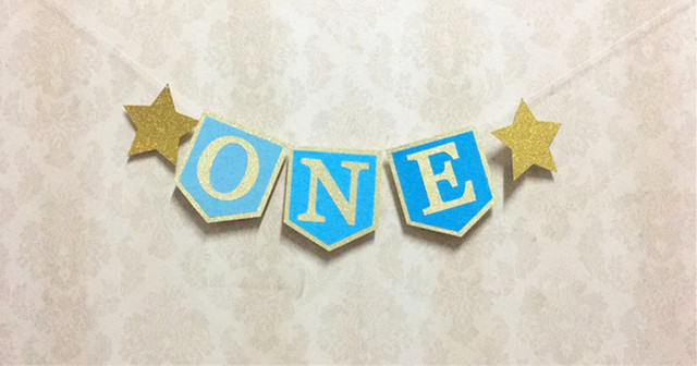 new design hot sale blue one banner boy highchair bunting photo props 1st birthday deco twinkle